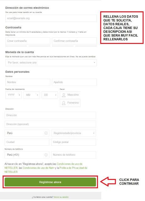 formulario de registro en neteller