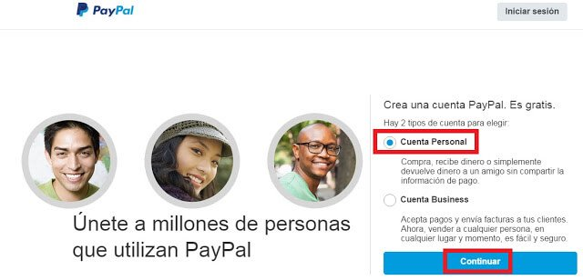 Registro paypal