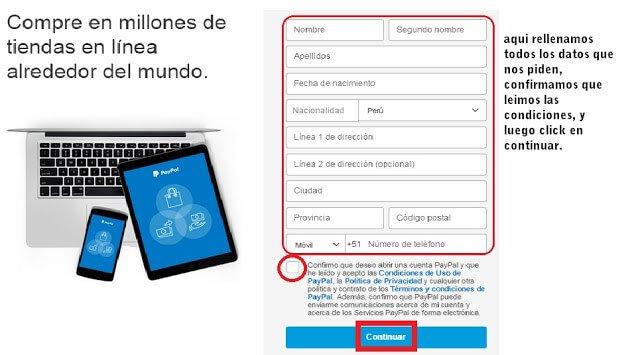 Formulario registro detallado paypal