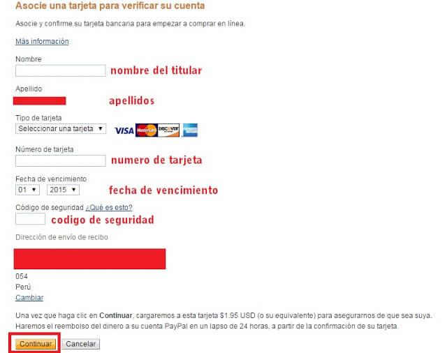 Asocie una tarjeta para validar su cuenta paypal